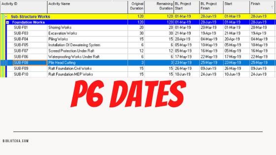P6 Dates