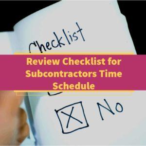 Review Checklist For Subcontractors